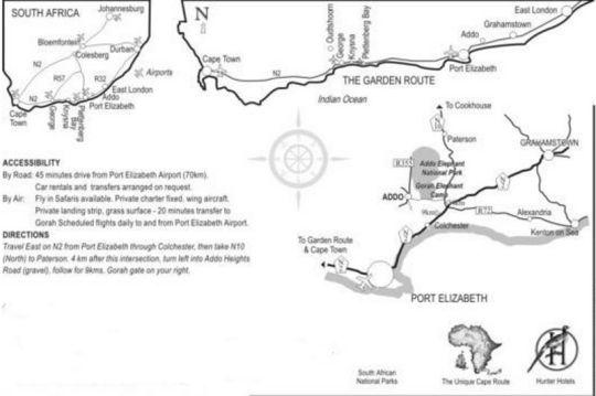 Map Gorah Elephant Camp in Addo  Cacadu (Sarah Baartman)  Eastern Cape  South Africa