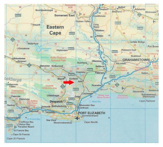 Map Charihandra Game Lodge in Addo  Cacadu (Sarah Baartman)  Eastern Cape  Südafrika