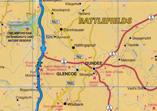 Map Bergview Guest House  in Dundee  Battlefields  KwaZulu Natal  South Africa