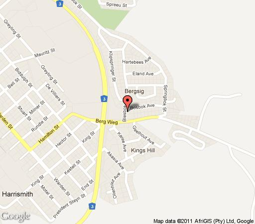 Map Amadudu Guesthouse in Harrismith  Thabo Mofutsanyana  Free State  South Africa