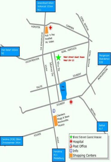 Map West Street Guest House in Ermelo  Wetlands  Mpumalanga  S�dafrika