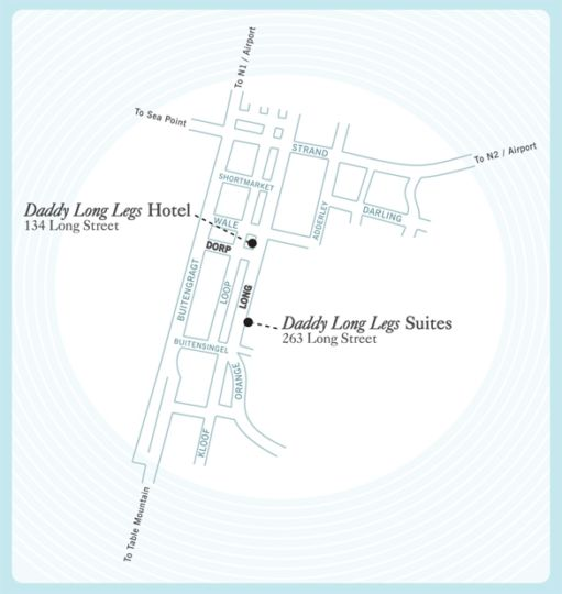 Map Daddy Long Legs Self-Catering Apartments in Cape Town CBD  City Bowl  Cape Town  Western Cape  South Africa