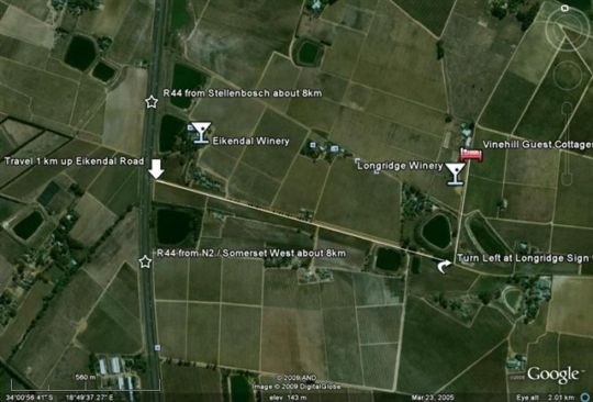 Map Vinehill Guest Cottages in Stellenbosch  Cape Winelands  Western Cape  South Africa