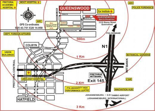 Map Queenswood Bed & Breakfast in Queenswood  Moot  Pretoria / Tshwane  Gauteng  South Africa