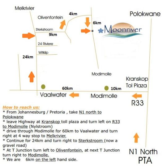 Map Moonriver Mountain Retreat in Vaalwater  Waterberg  Bushveld  Limpopo  South Africa