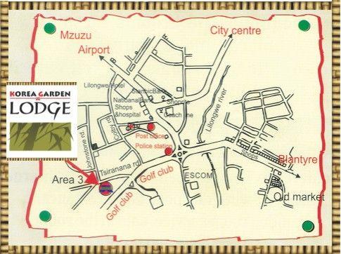 Map Korea Garden Lodge in Lilongwe  Malawi