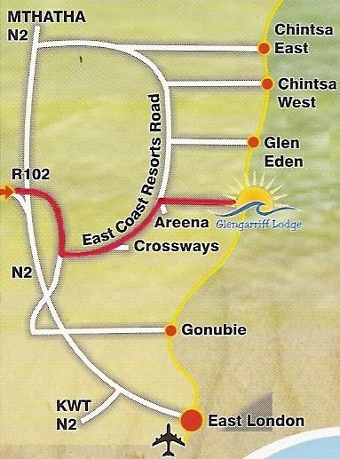 Map Glengarriff Lodge in Glengariff  East London  Amatole  Eastern Cape  South Africa