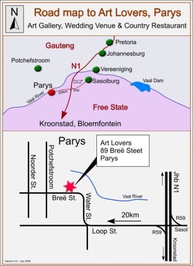Map Art Lovers Guesthouse in Parys  Fezile Dabi (Northern Free State)  Free State  South Africa