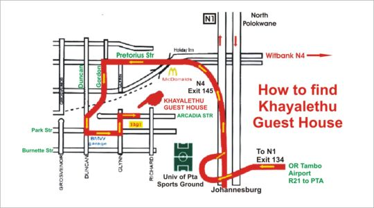 Map Khayalethu Guest House in Hatfield  Pretoria Central  Pretoria / Tshwane  Gauteng  South Africa