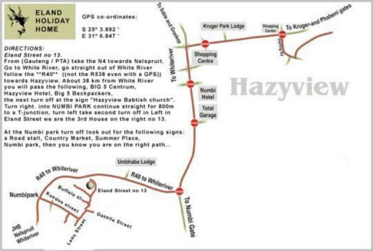 Map Eland Holiday Home in Hazyview  The Panorama  Mpumalanga  South Africa