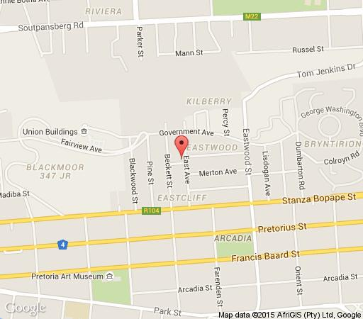 Map East View House Arcadia in Arcadia  Pretoria Central  Pretoria / Tshwane  Gauteng  South Africa