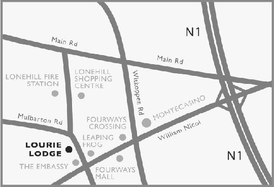 Map Lourie Lodge in Fourways  Sandton  Johannesburg  Gauteng  South Africa