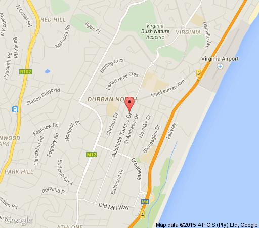 Map Cozy Nest Guest House in Durban North  Northern Suburbs (DBN)  Durban and Surrounds  KwaZulu Natal  Afrique du Sud