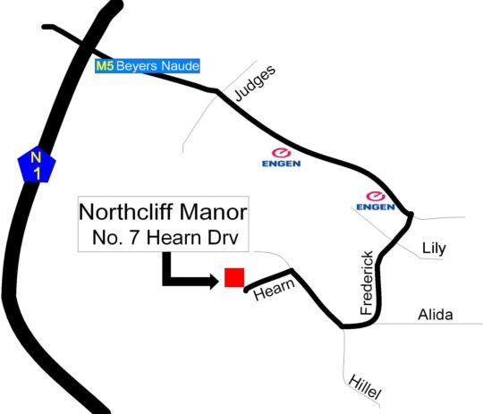 Map Northcliff Manor in Northcliff  Northcliff/Rosebank  Johannesburg  Gauteng  South Africa