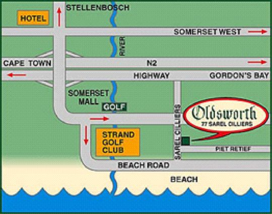 Map Oldsworth Accommodation in Strand  Helderberg  Western Cape  South Africa