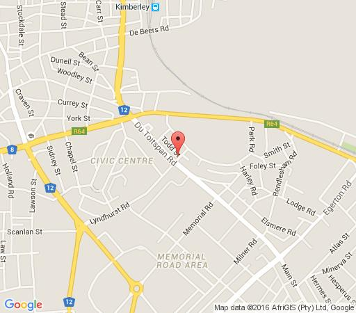 Map Jungnickel Guesthouse in Kimberley  Diamond Fields  Northern Cape  Zuid-Afrika