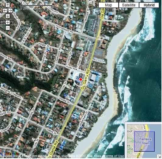 Map Beach Cabanas in Jeffreys Bay  Cacadu (Sarah Baartman)  Eastern Cape  South Africa