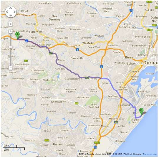 Map Howzit Self Catering in Bluff  Durban  Durban and Surrounds  South Africa