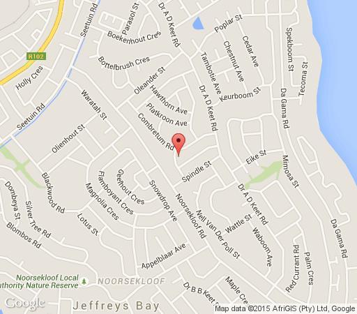 Map Hillcrest Self-Catering in Jeffreys Bay  Cacadu (Sarah Baartman)  Eastern Cape  South Africa