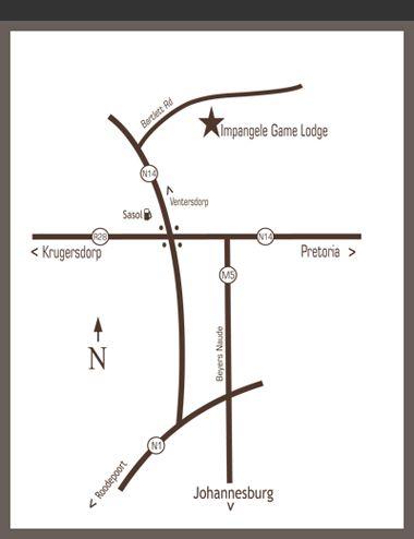 Map Impangele Game Lodge in Muldersdrift  West Rand  Gauteng  South Africa