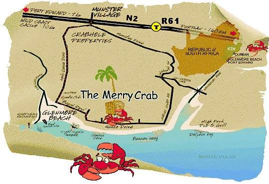 Map The Merry Crab Beach Lodge in Munster  South Coast (KZN)  KwaZulu Natal  South Africa