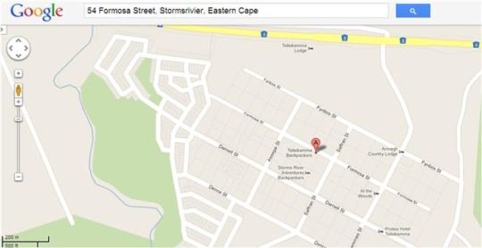 Map Tsitsikamma Backpackers in Storms River  Tsitsikamma  Garden Route  Western Cape  South Africa