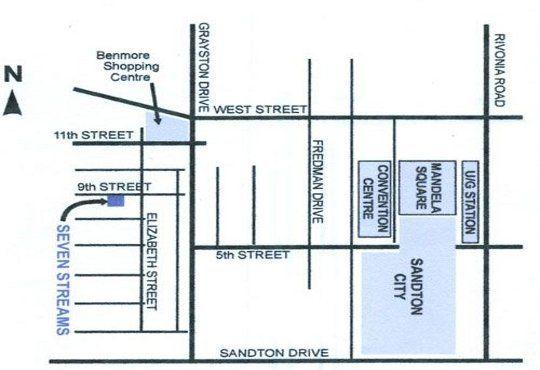 Map Seven Streams in Sandton Central  Sandton  Johannesburg  Gauteng  South Africa