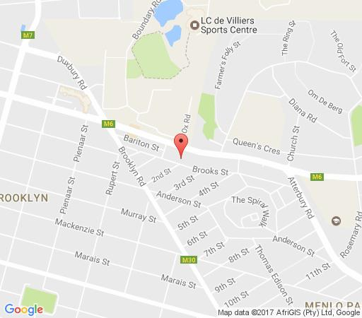 Map Hillcrest Bed and Breakfast in Brooklyn (PTA)  Pretoria Central  Pretoria / Tshwane  Gauteng  South Africa