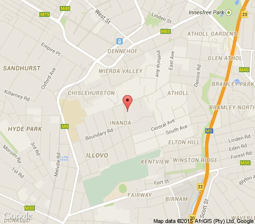 Map Sandton Lodge Inanda Guest House in Sandton Central  Sandton  Johannesburg  Gauteng  South Africa