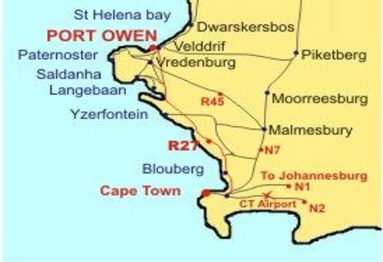 Map The Waterfront Guesthouse in Velddrif  West Coast (WC)  Western Cape  South Africa
