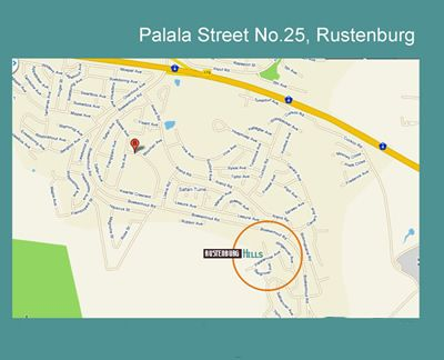 Map Rustenburg Hills in Rustenburg  Bojanala  North West  Afrique du Sud