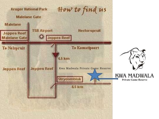 Map Kwa Madwala Private Game Reserve in Hectorspruit  Lowveld  Mpumalanga  South Africa
