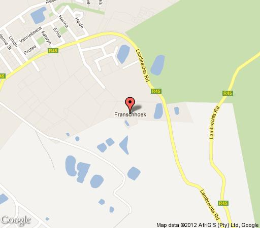 Map Auberge La Dauphine in Franschhoek  Cape Winelands  Western Cape  South Africa