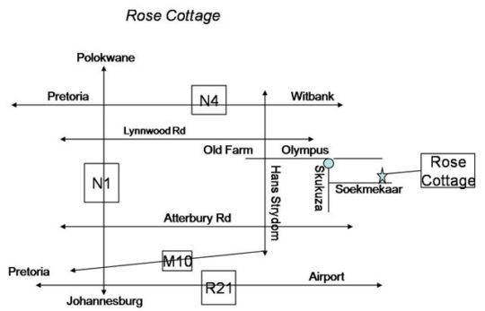 Map A Rose Cottage in Faerie Glen  Pretoria East  Pretoria / Tshwane  Gauteng  South Africa
