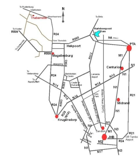 Map Thabametsi Farm in Magaliesburg  West Rand  Gauteng  South Africa