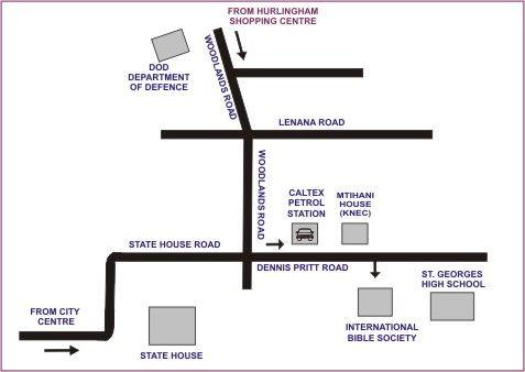 Map Biblica Guest House in Nairobi  Kenya