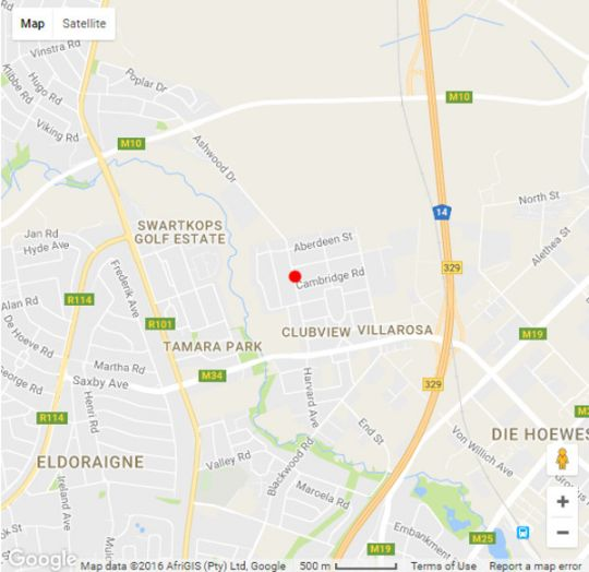 Map J-Cups Guesthouse in Clubview  Centurion  Pretoria / Tshwane  Gauteng  South Africa