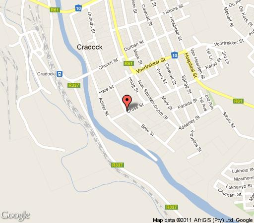 Map Nietgenaamd B&B in Cradock  Stormberg District  Eastern Cape  South Africa