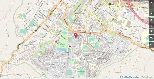 Map Oak Lodge FlashPackers in Ville de Cape Town  City Bowl  Le Cap  Western Cape  Afrique du Sud