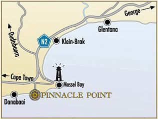 Map Pinnacle Point Golf Estate in Mossel Bay  Garden Route  Western Cape  South Africa