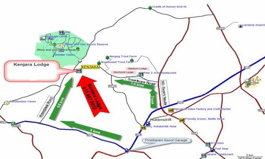 Map Kenjara Lodge in Muldersdrift  West Rand  Gauteng  South Africa