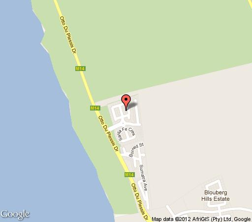 Map Holiday Villa La Paloma in Bloubergstrand  Blaauwberg  Cape Town  Western Cape  South Africa