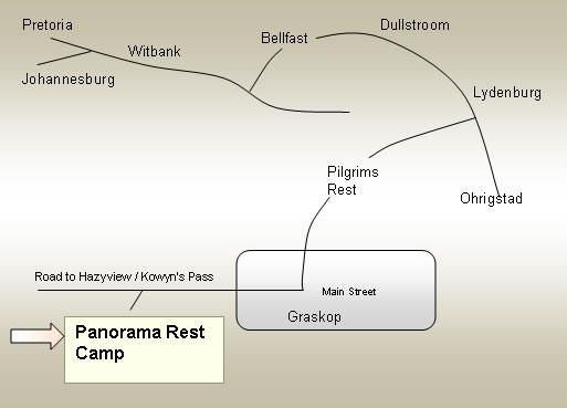 Map Panorama Rest Camp in Graskop  The Panorama  Mpumalanga  South Africa