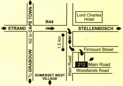 Map Two Oaks B&B in Somerset West  Helderberg  Western Cape  South Africa