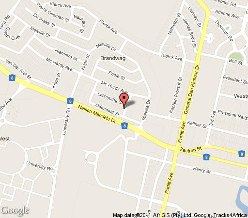 Map Adelante Lodge in Bloemfontein  Mangaung  Free State  South Africa