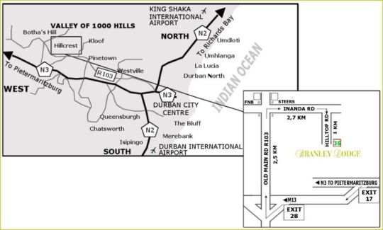 Map Branley Lodge in Hillcrest  Western Suburbs (DBN)  Durban and Surrounds  KwaZulu Natal  South Africa