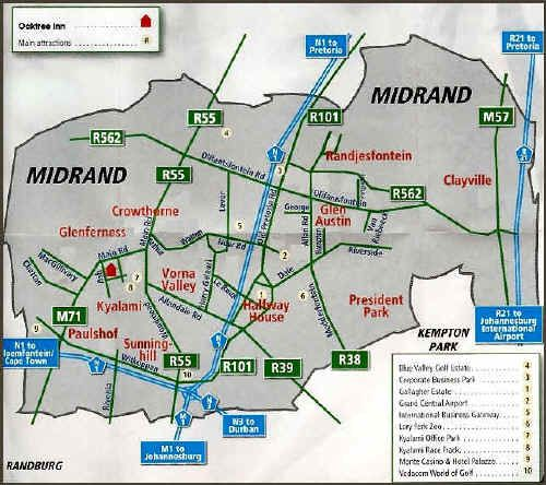 Map Oaktree Lodge Guest House in Kyalami  Midrand  Johannesburg  Gauteng  South Africa