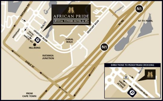 Map African Pride Crystal Towers Hotel & Spa  in Century City  Blaauwberg  Cape Town  Western Cape  South Africa