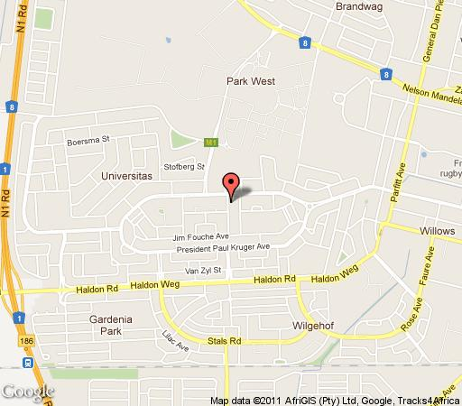 Map A Summer Place Boutique Guest House in Bloemfontein  Mangaung  Free State  South Africa