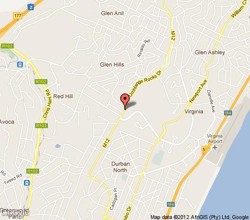 Map African Pride Boutique Hotel in Durban North  Northern Suburbs (DBN)  Durban and Surrounds  KwaZulu Natal  South Africa